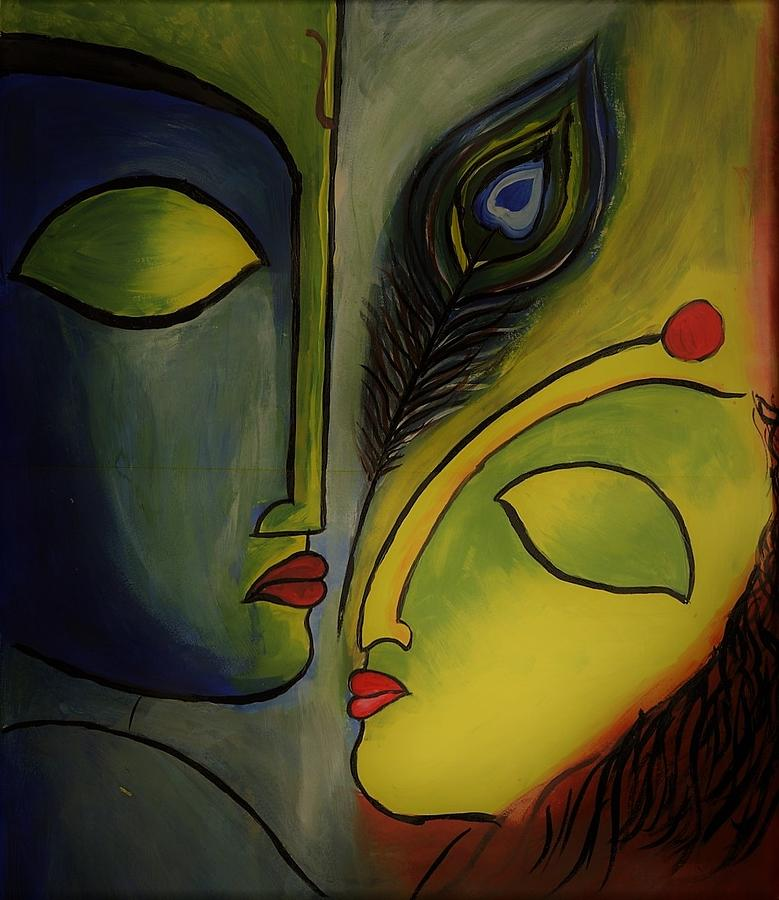 Radha Krishna Abstract Painting Painting By Vijay Sonar
