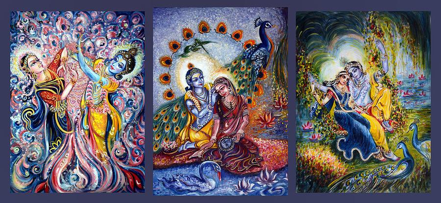 Krishna Painting - Radha Krishna Cosmic Leela by Harsh Malik