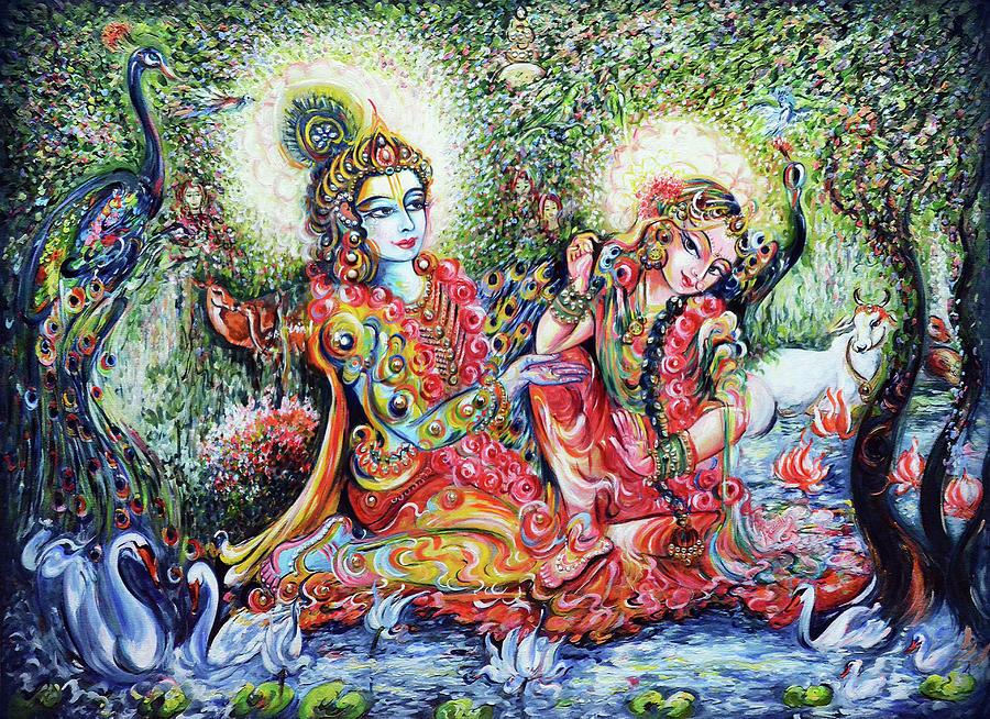 Divine Lovers Painting By Harsh Malik
