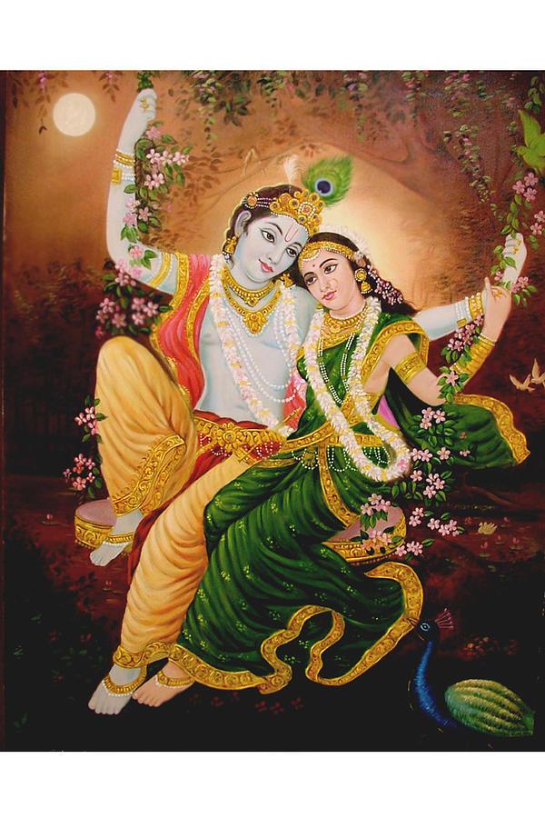 Religious Scene Painting - Radha Krishna by Gurdeep Sharma