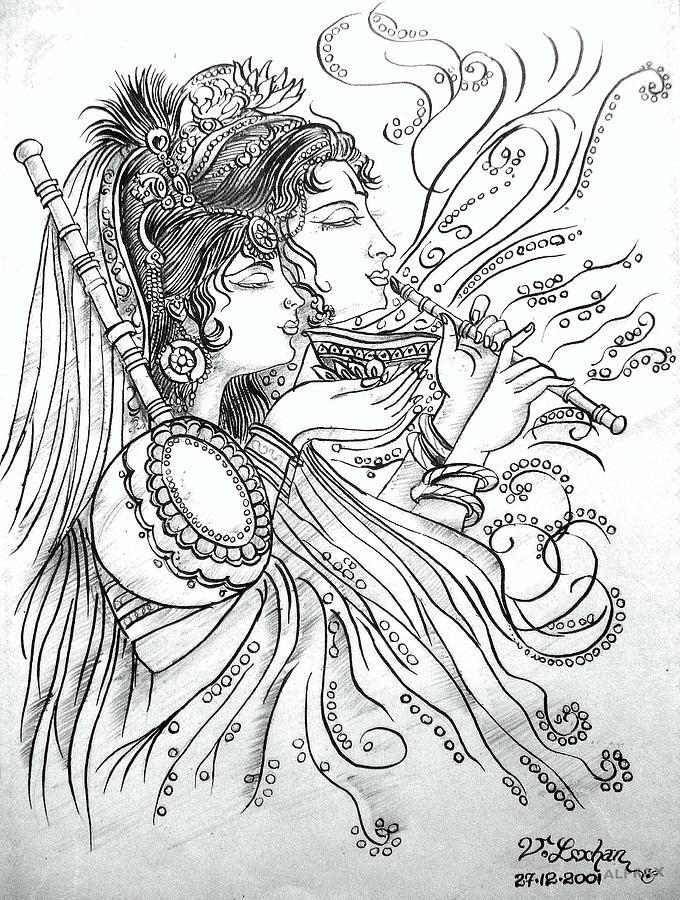 Line Art Radha Krishna : Radha krishna painting by lochan venna