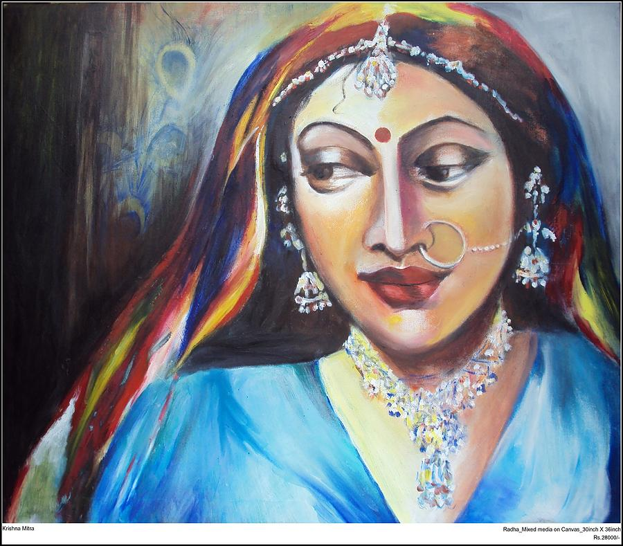 Contemporary Painting - Radha by Krishna Mitra