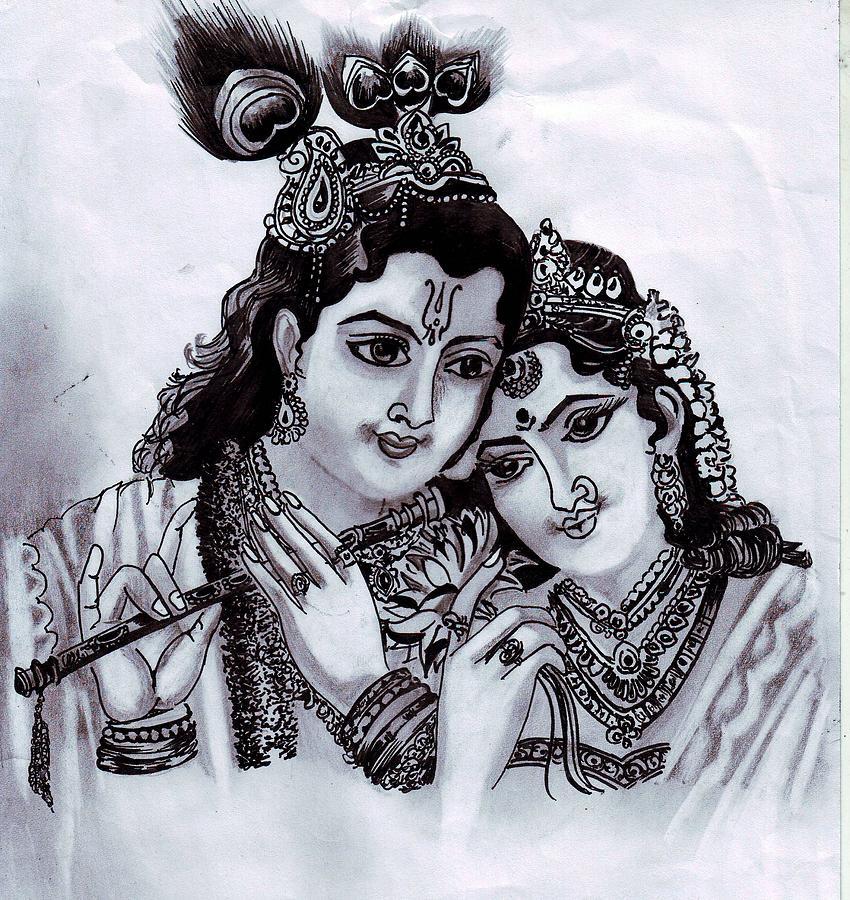 Radha- Krishna.. Drawing By Saoni Banerji