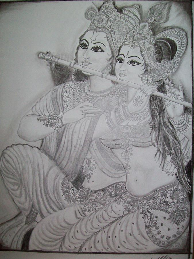 Sketch drawing radha krishna by swapnil mishra