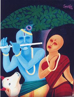 Flute Painting - Radha Krishna by V V Swamy