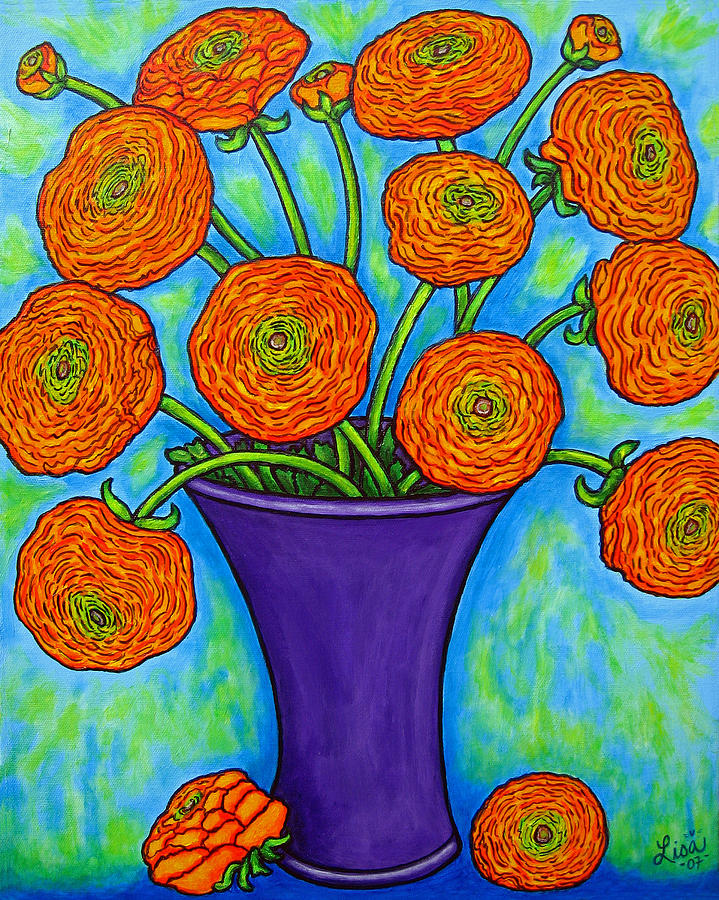 Green Painting - Radiant Ranunculus by Lisa  Lorenz