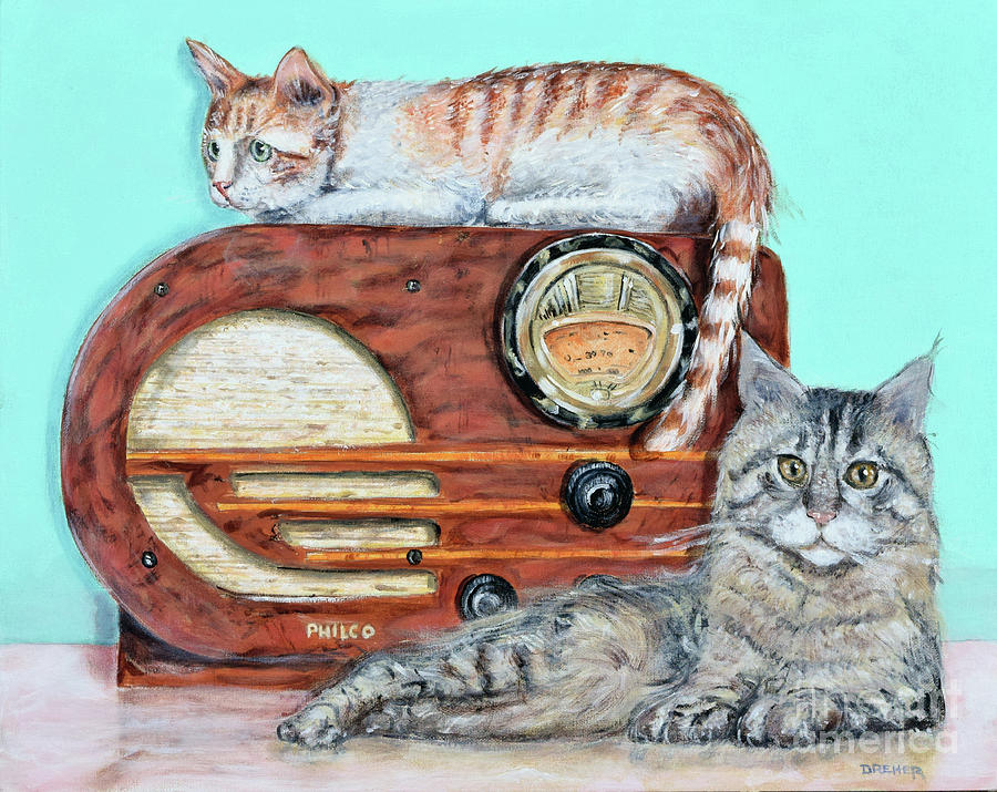 Cat Painting - Radio Cats by Chris Dreher