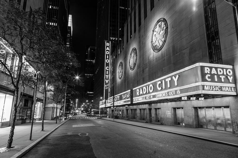 Radio City Music Hall Nyc Black And White Photograph