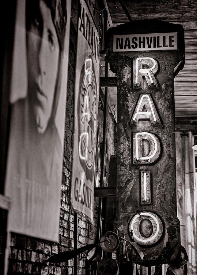 Nashville Photograph - Radio Nashville - Monochrome by Stephen Stookey