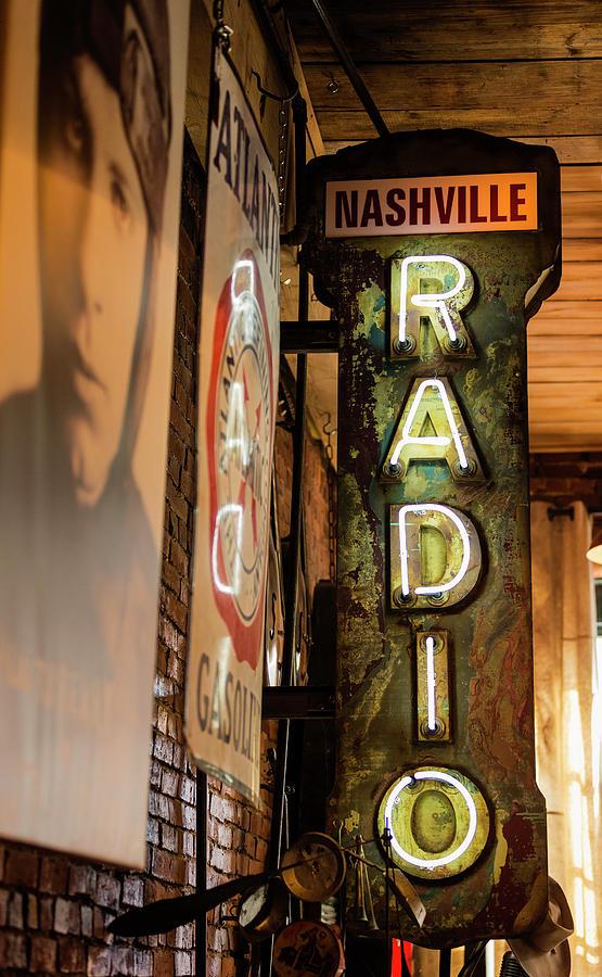 Nashville Photograph - Radio Nashville Sign by Stephen Stookey