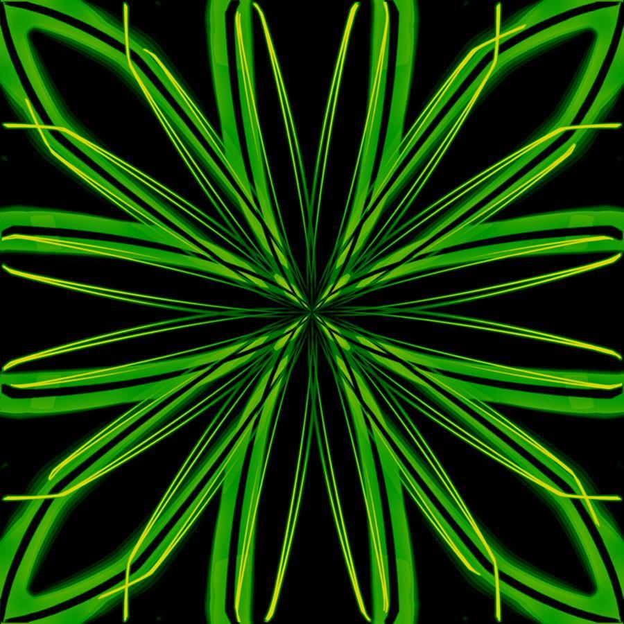 Snowflake Digital Art - Radioactive Snowflake Green by Randolph Ping