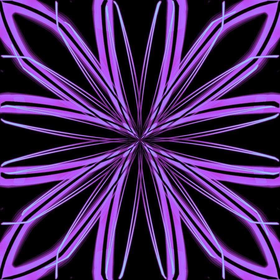 Snowflake Digital Art - Radioactive Snowflake Purple by Randolph Ping