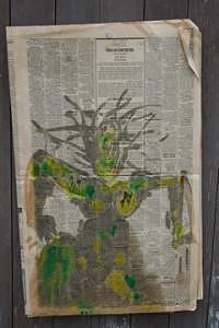 Radwoman Batik Newpaper Mixed Media by Polly  Wood