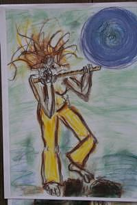 Radwoman With Flute Drawing by Polly  Wood