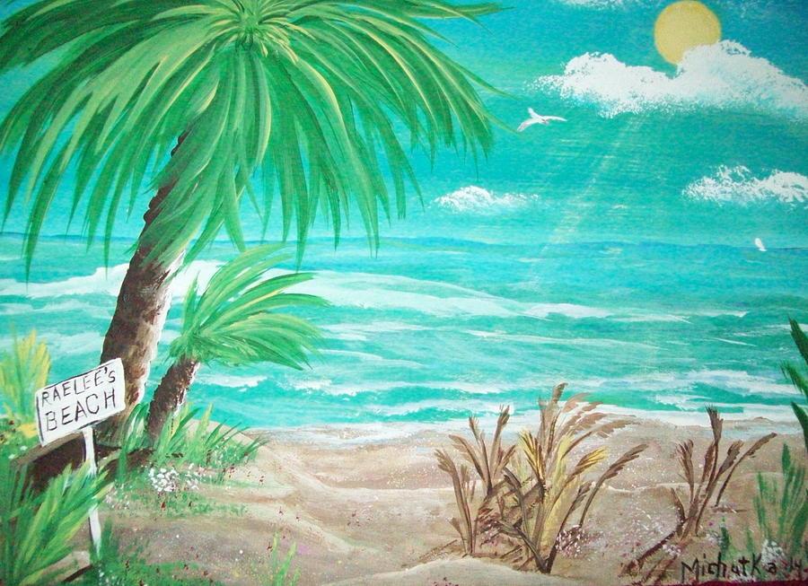 Folk Painting - Raelees Beach by Susan Michutka