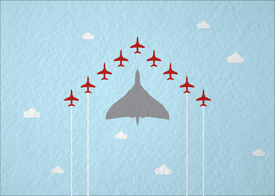 Raf Red Arrows In Formation With Vulcan Bomber Photograph