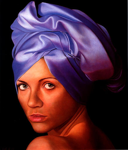 Female Painting - Raffaella With Voilet Turban by Toby Boothman