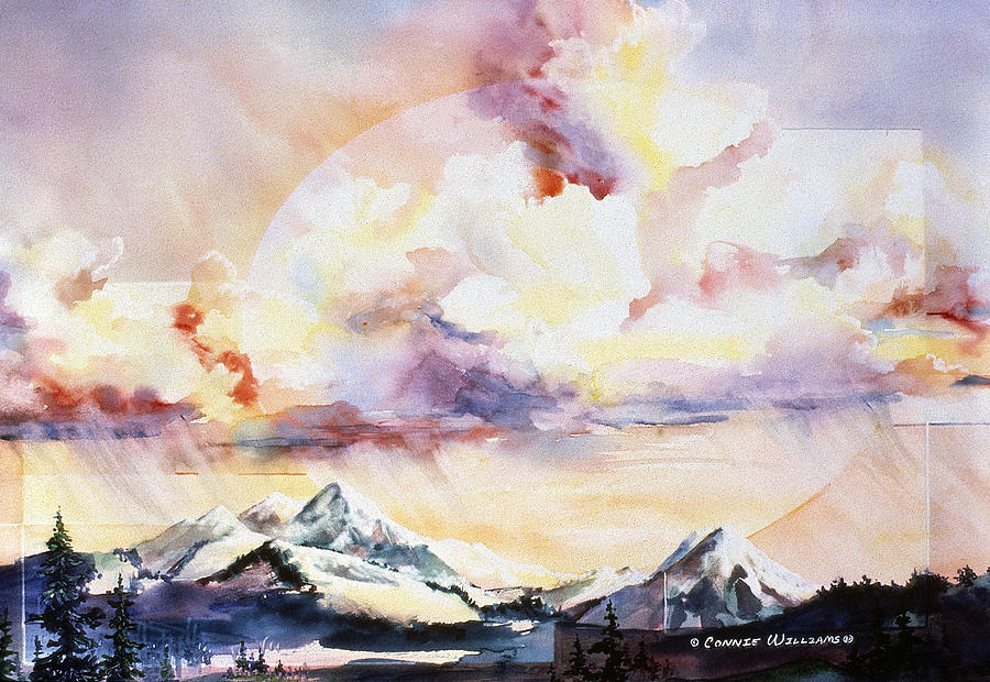 Colorado Painting - Ragged Mountains Sunset by Connie Williams