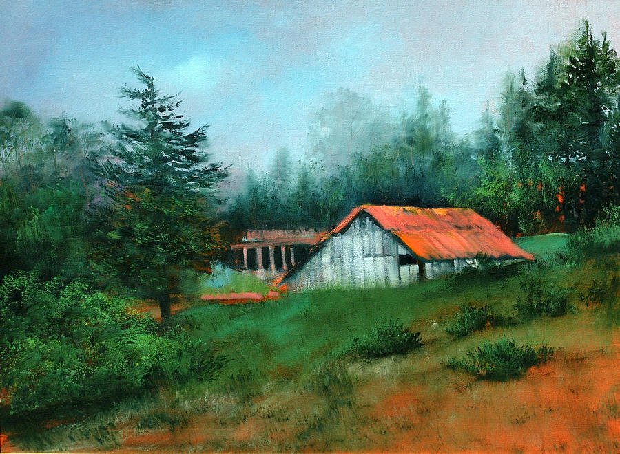 Forest Painting - Ragged Point Barn by Sally Seago