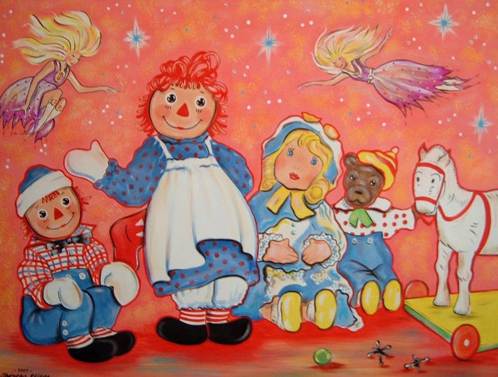 raggedy ann painting raggedy ann andy and friends by theresa stites - Raggedy Ann And Andy