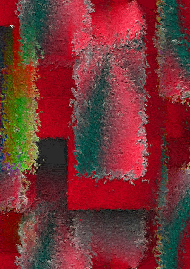 Red Abstract Painting - Raggedy Red by John Krakora