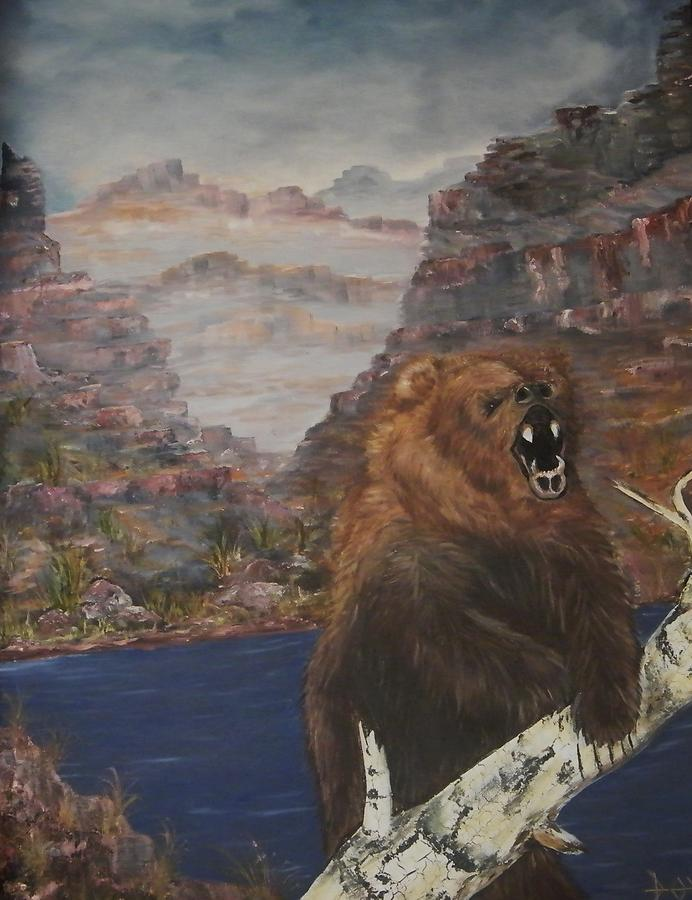 Raging Bear Painting by Larry Doyle