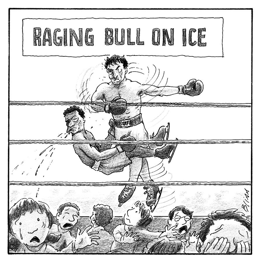 Raging Bull On Ice Drawing by Harry Bliss