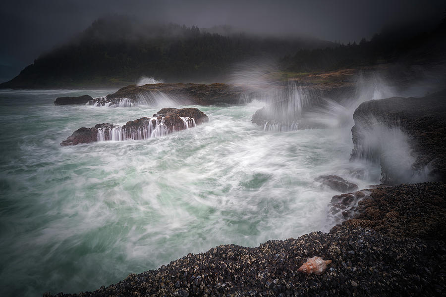 America Photograph - Raging Waves On The Oregon Coast by William Freebilly photography