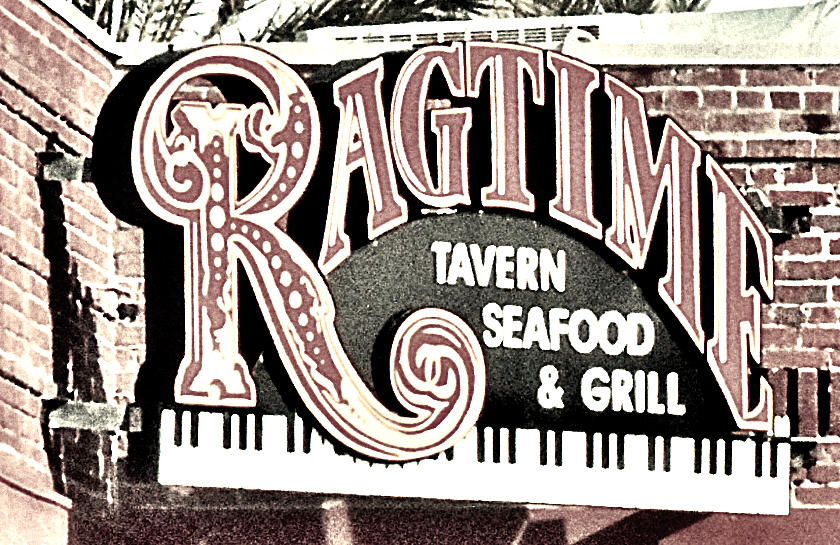 Ragtime Sign Black And White Photograph