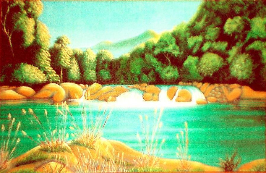 Waterfalls Painting - Rai Valley Falls Si Nz by Barbara Stirrup