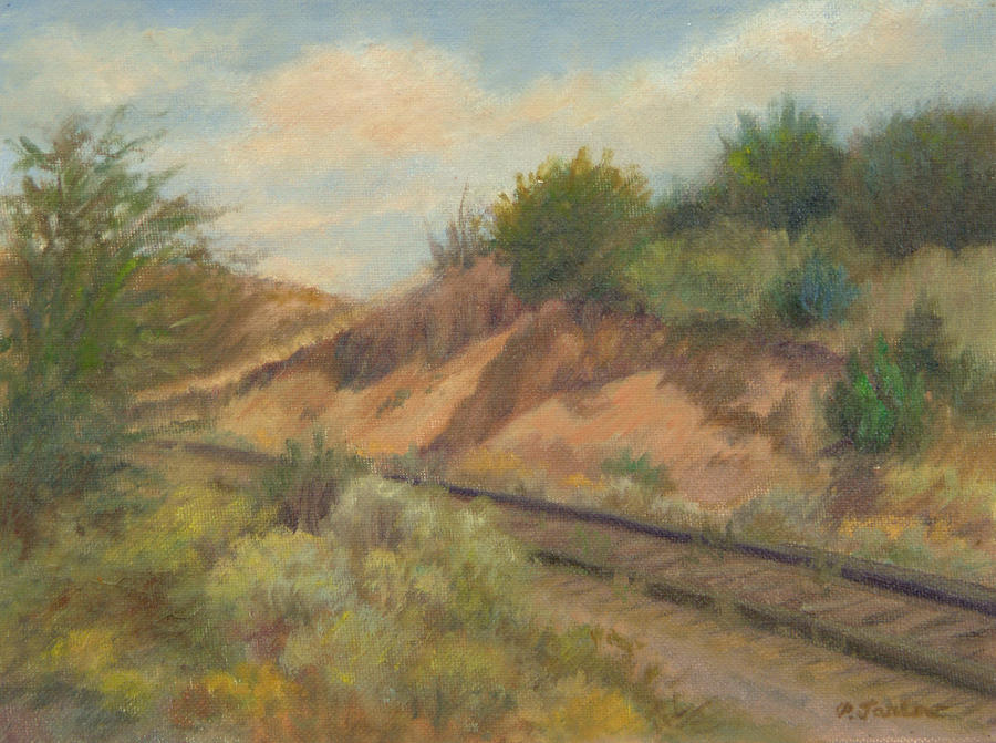 Oil Landscape Painting - Rail To Lamy by Phyllis Tarlow