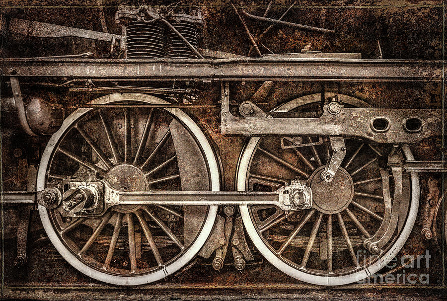 Rail Wheel Grunge Detail,  Steam Locomotive 04 by Daliana Pacuraru