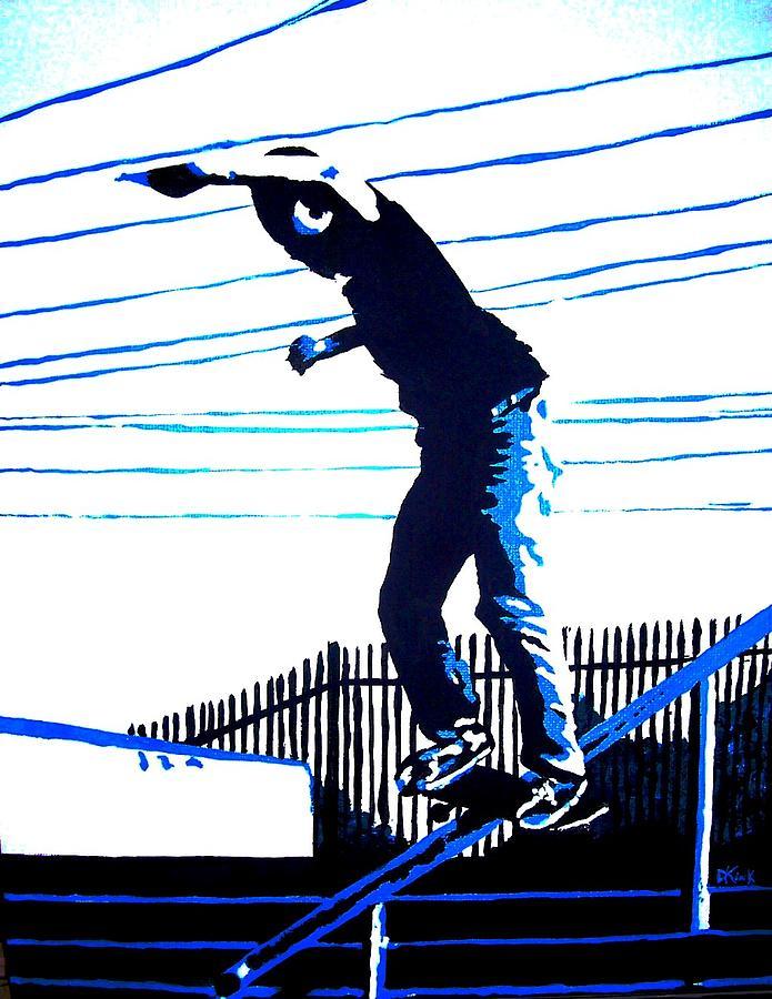 Skateboarding Painting - Rail Workers Union by Douglas Kriezel