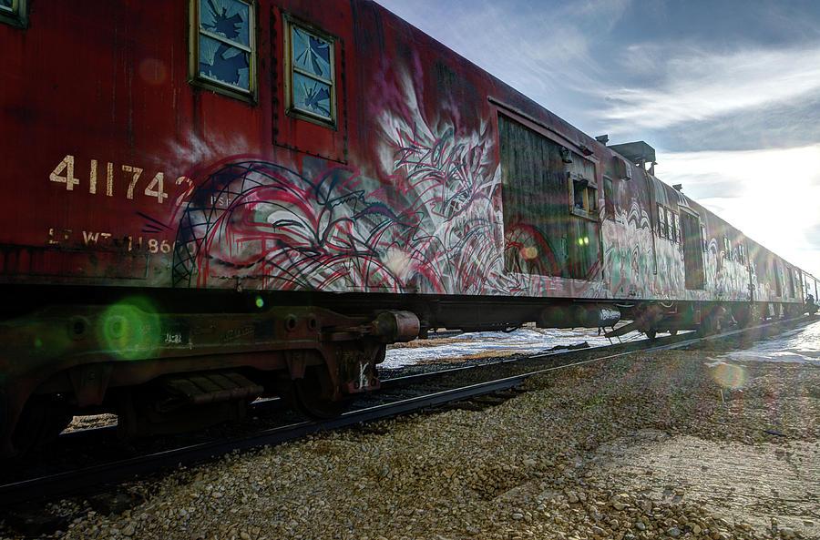Alberta Photograph - Railcar Graffiti by Bruno Doddoli