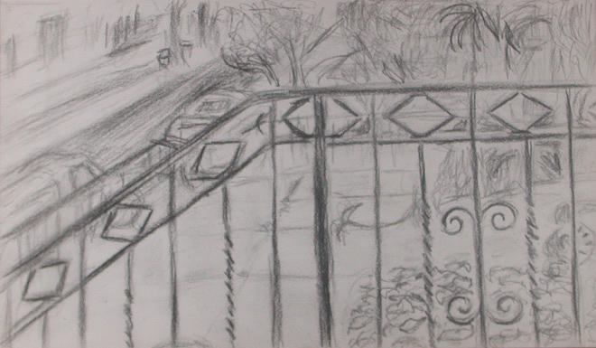 Street Drawing - Railing by Aimee Johnson