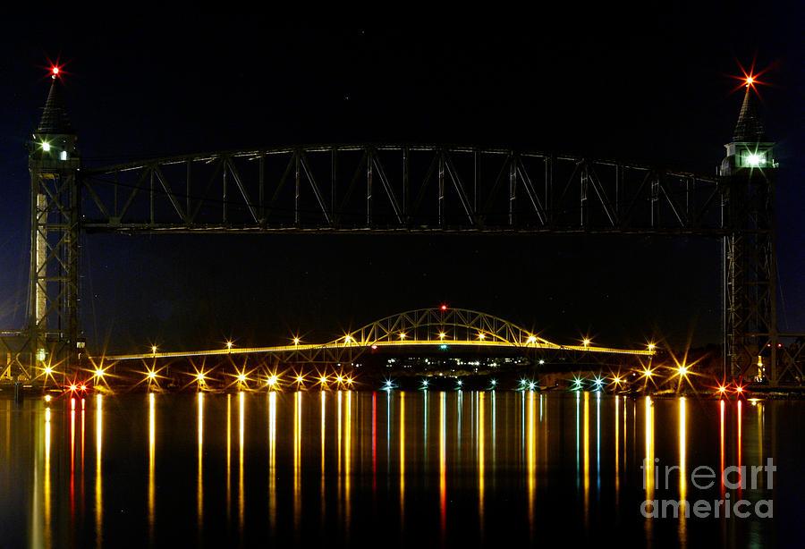 Railroad Bridge Photograph - Railroad And Bourne Bridge At Night Cape Cod by Matt Suess