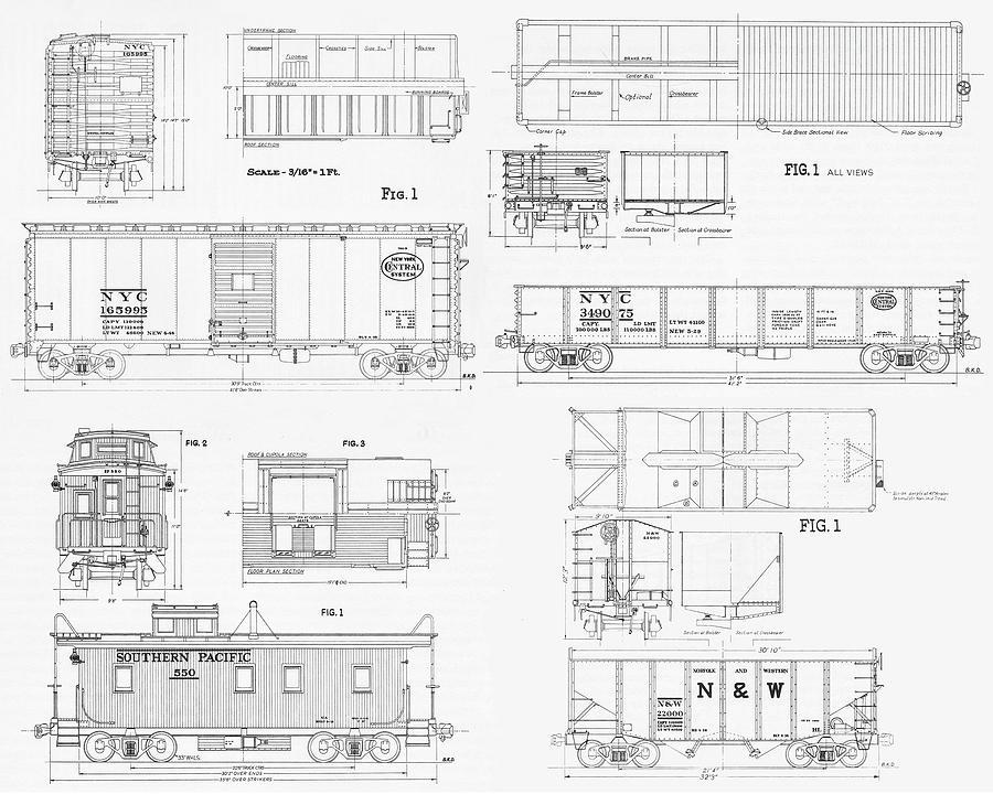 Railroad Blueprint Composite / Black On White