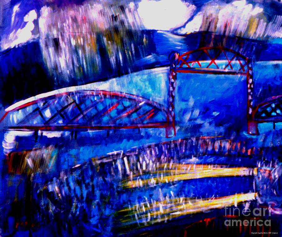 Landscape Painting - Railroad Brdige  by Angelina Marino