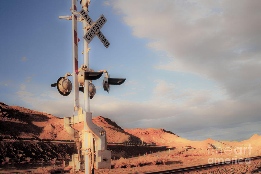 Clouds Photograph - Railroad Crossing Tint by Vance Fox
