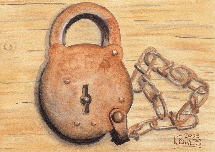 Lock Painting - Railroad Lock by Ken Powers