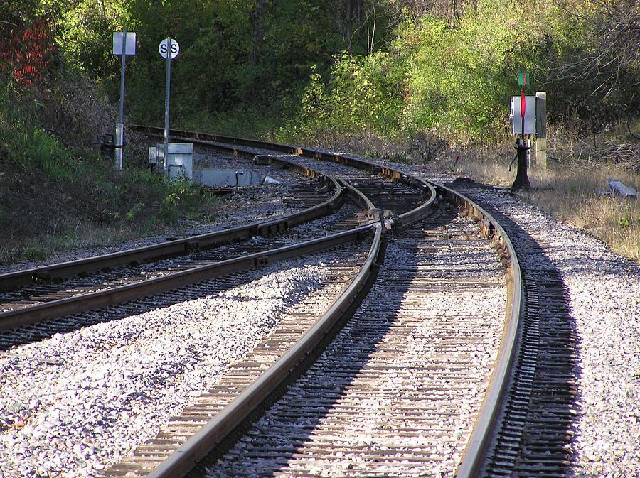 Tracks Photograph - Railroads Merging by Richard Mitchell