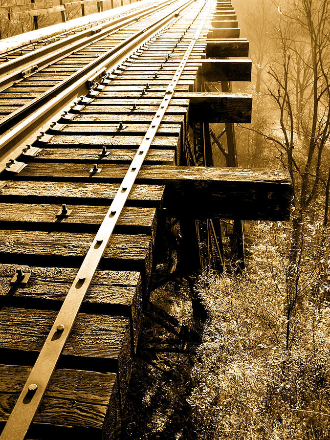 Sepia Photograph - Rails Of Olde  by Adrienne Talbot