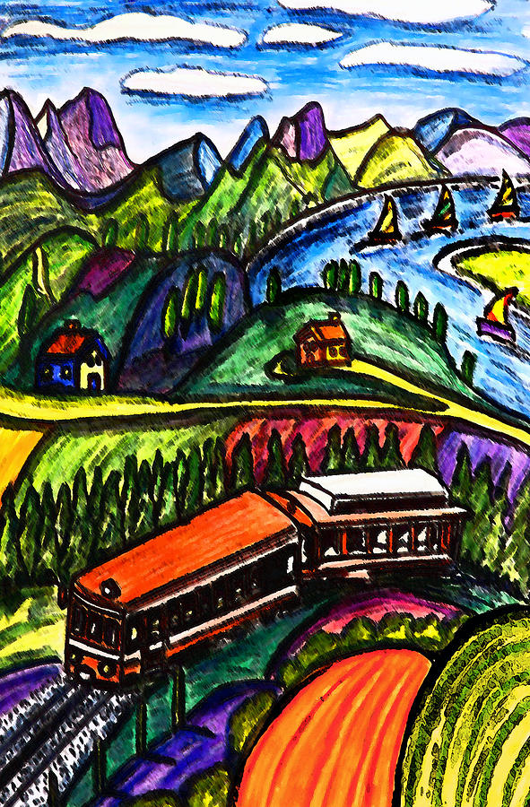 Railroad Painting - Railway Express by Monica Engeler