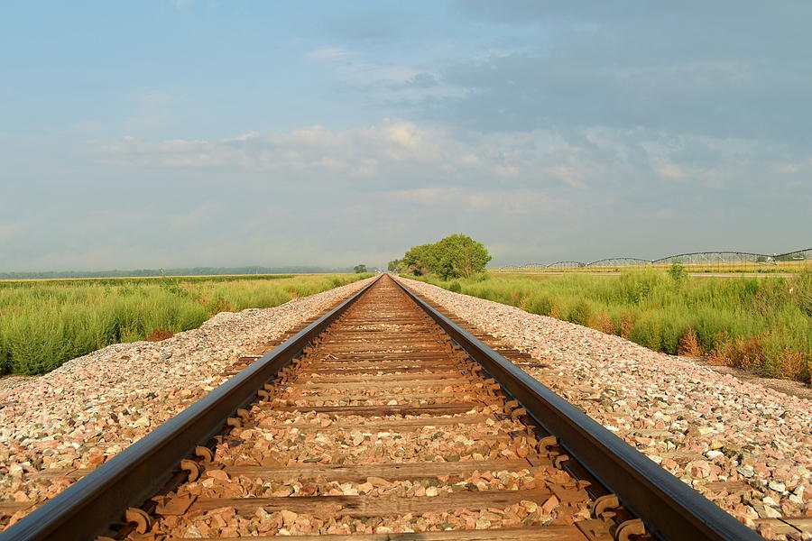 Railway tracks disappearing into the distance. by Steven Liveoak