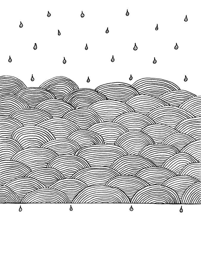 Rain Drawing - Rain And Sea by Konstantin Sevostyanov