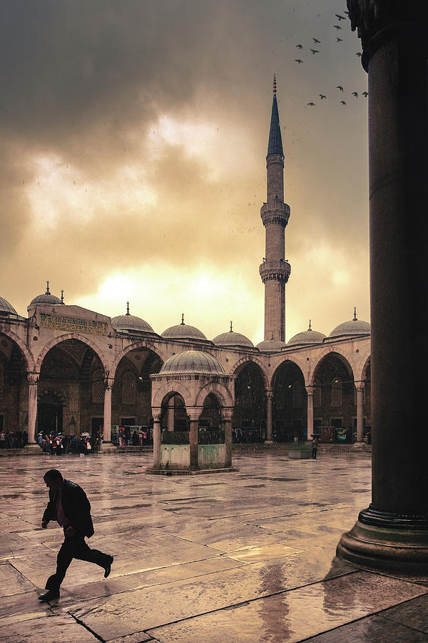 Blue Mosque Photograph - Rain At The Blue Mosque by Marji Lang