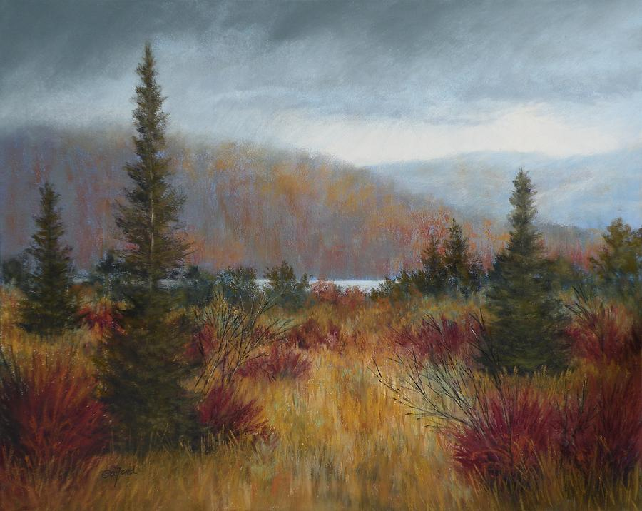 Pastel Painting - Rain Before The Snow by Paula Ann Ford