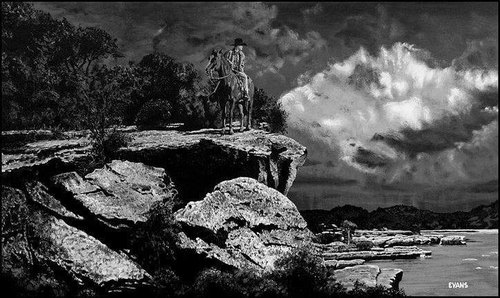 Black And White Painting - Rain Beyond The South Frio by Roger Evans