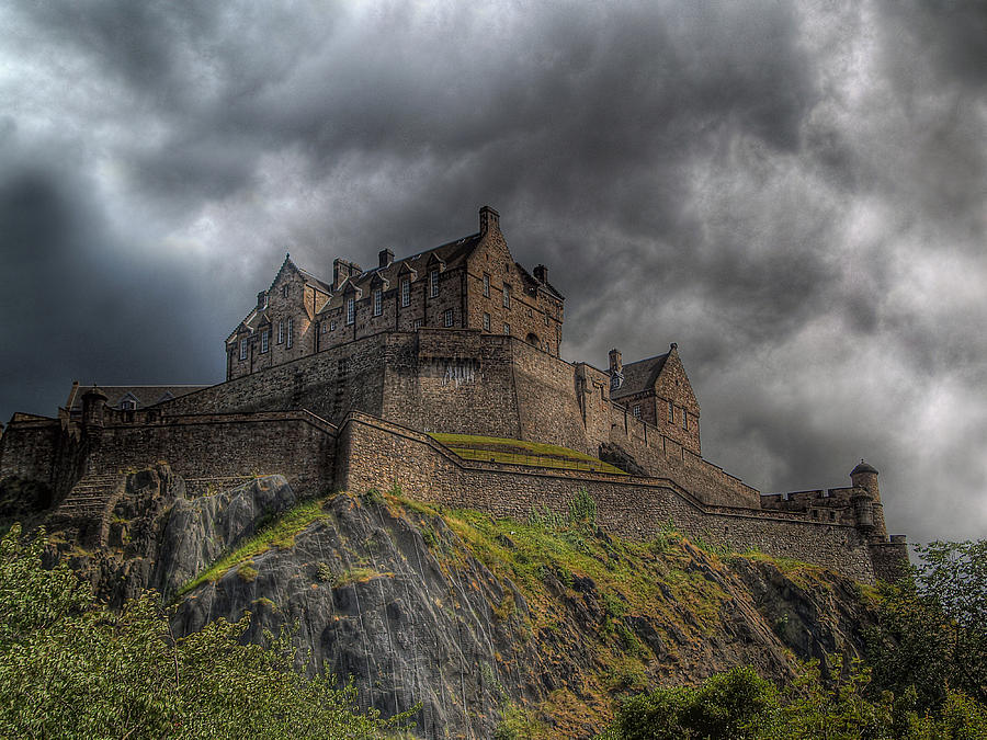 Edinburgh Photograph - Rain Clouds Over Edinburgh Castle by Amanda Finan