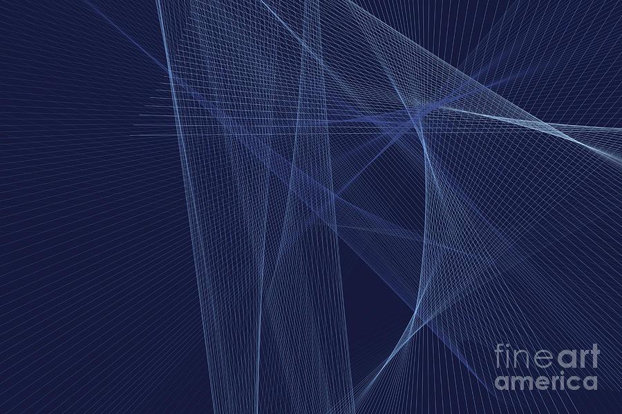 Abstract Digital Art - Rain Computer Graphic Line Pattern by Frank Ramspott